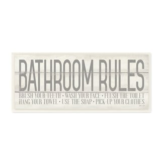 Porch & Den Planked Look 'Bathroom Rules' Typography Wall Plaque Art - 7x17