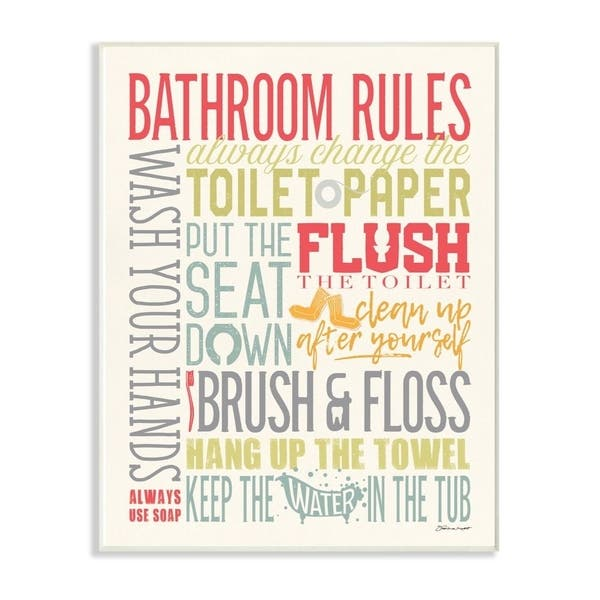 Shop The Stupell Home Decor Bathroom Rules Coral Green Grey and Blue