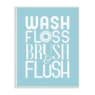 The Stupell Home Decor Wash Floss Brush Flush Blue and White Bold with Floss Roll Wall Plaque Art, 10x15, Proudly Made in USA