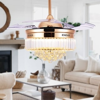 BellaDepot Crystal Bladeless Ceiling Fan, Drum chandelier fan, Remote - 42 inches (French Gold)