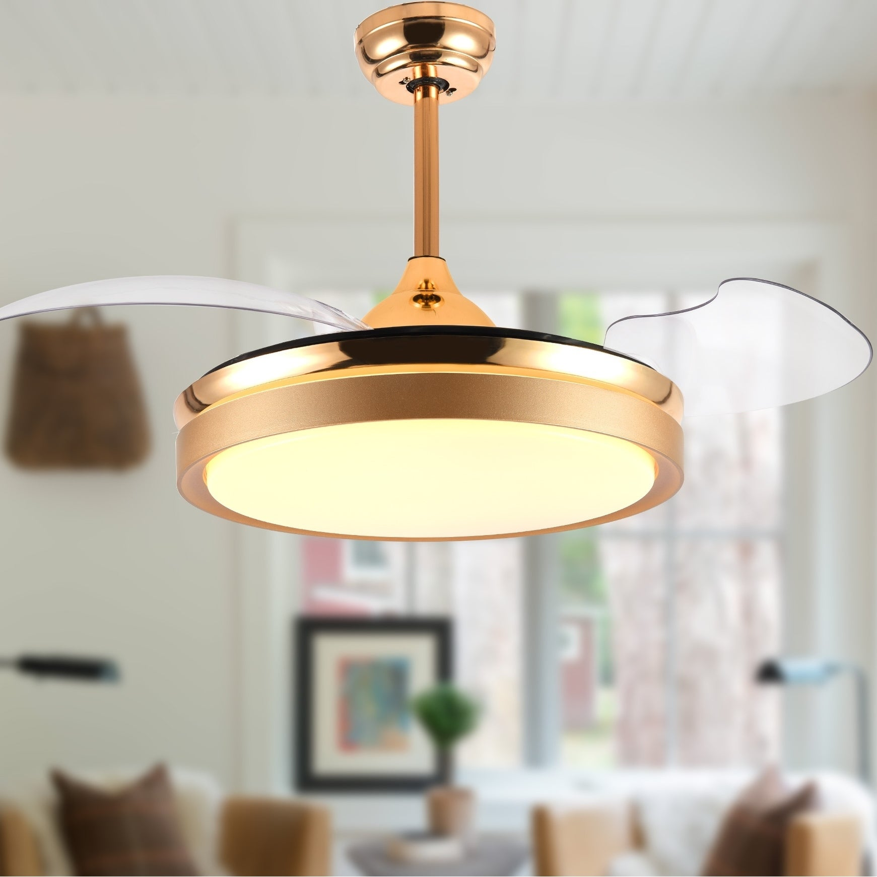 Shop Contemporary Bladeless Ceiling Fan With Light And Remote Retractable Blades 42 Inches On Sale Overstock 28174116