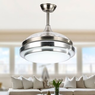 Contemporary Bladeless Ceiling Fan with Light and Remote, Retractable Blades - 42 inches - 42 inches