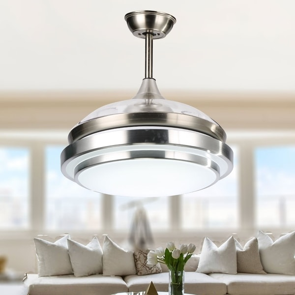 Contemporary Bladeless Ceiling Fan with Light and Remote, Retractable Blades - 42 inches - 42 inches. Opens flyout.
