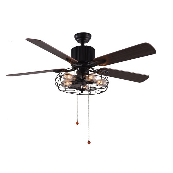 """48/"""" 5 Blades Ceiling Fan 3 Light 3 Speed Kit Antique Reversible Remote Control"""