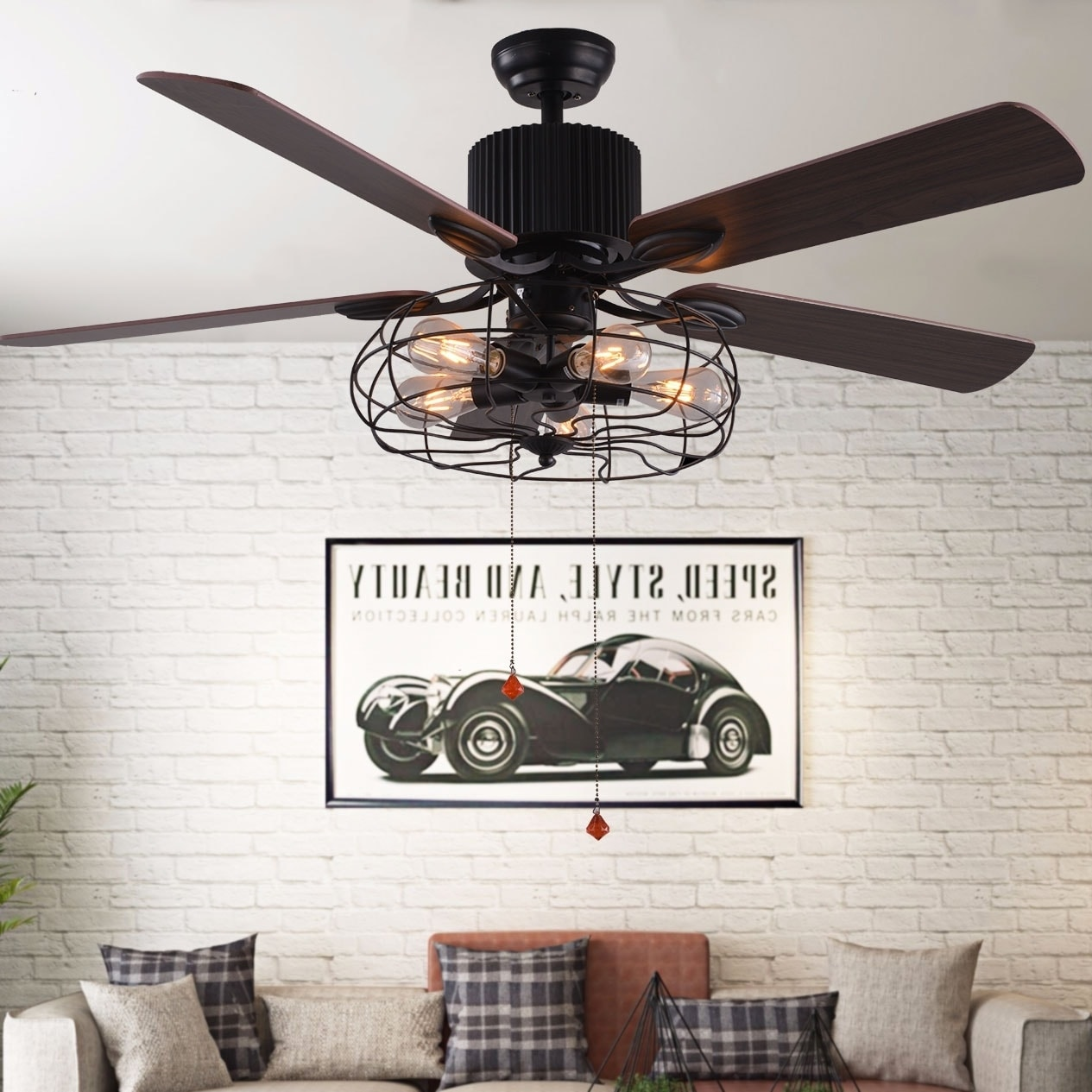 Black Industrial Ceiling Fan with Remote Control, 5 Wood Reversible Blades, Pull Chains (42 inches)