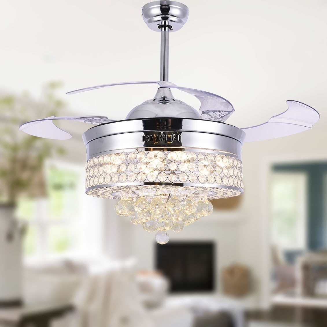 Shop Black Friday Deals On Unique Caged Ceiling Fan With Remote Led Light Retractable Blades 42 Inches 42 Inches Overstock 28174122