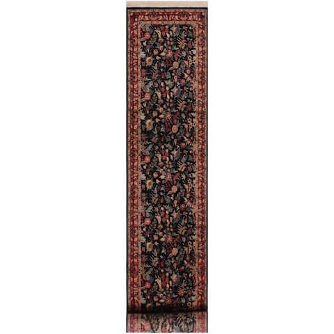 "Basarabian Pak-Persian Mara Black/Red Wool Runner (3'2 x 12'4) - 3'2"" x 12'4"""