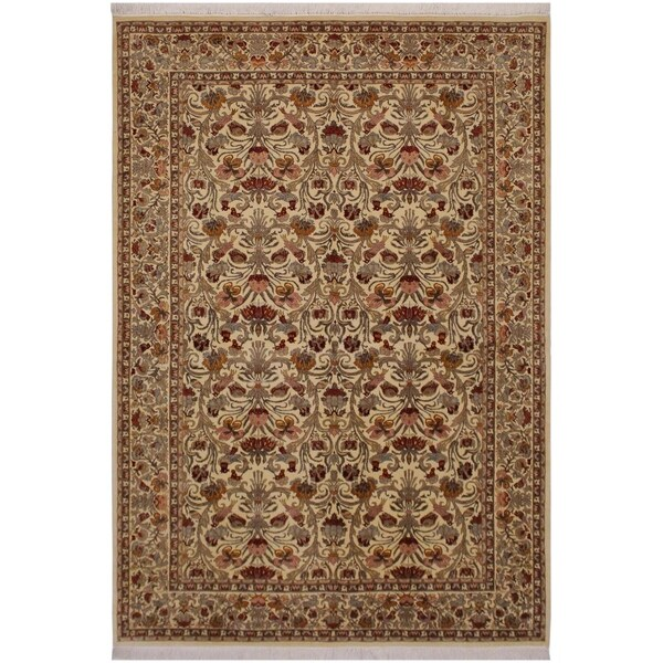 """Pak-Persian Karleen Ivory/Lt. Gold Wool Rug (6'2 x 9'2) - 6'2"""" x 9'2"""""""