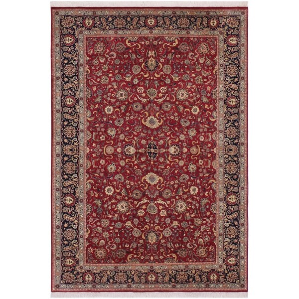"Abassi Afsha Pak-Persian Lavera Red/Blue Wool Rug (6'1 x 9'3) - 6'1"" x 9'3"""