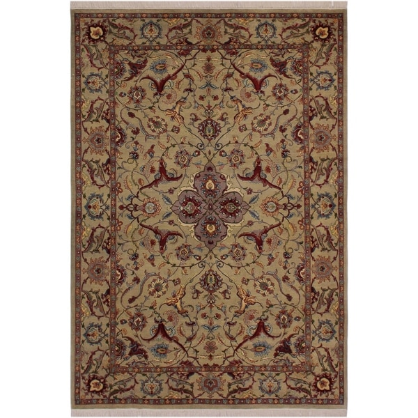 "Hamadan Pak-Persian Lanita Grey/Green Wool Rug (6'1 x 8'10) - 6'1"" x 8'10"""
