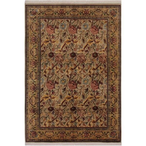"Kamal Pak-Persian Hedy Grey/Pink Wool Rug (6'0 x 8'9) - 6'0"" x 8'9"""