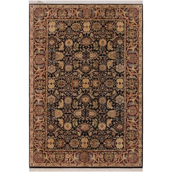 "Agra Pak-Persian Ethelene Black/Drk. Red Wool Rug (6'0 x 9'2) - 6'0"" x 9'2"""