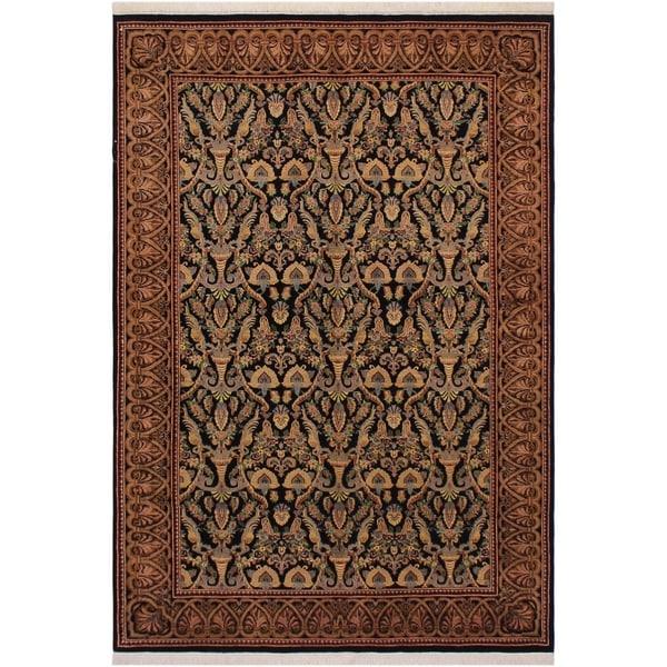 "Kashan Pak-Persian Donetta Black/Gold Wool Rug (6'0 x 6'0) - 6'0"" x 6'0"""