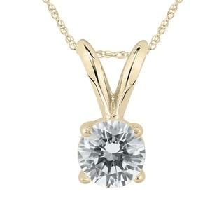 3 8 Carat Diamond Solitaire Pendant In 14K Yellow Gold L M Color I2 I3 Clarity