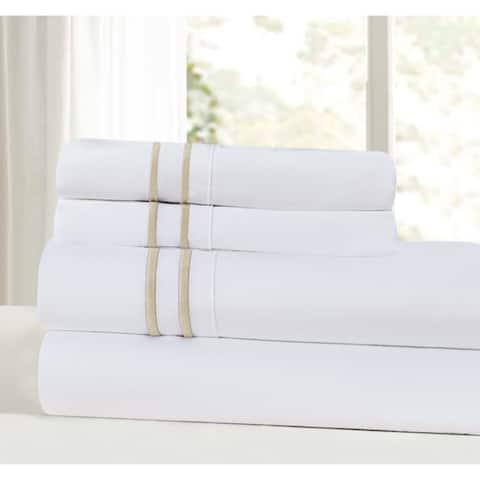 Porch & Den Elmonica White 300 TC Sateen Cotton 4-piece Sheet Set with Embroidery