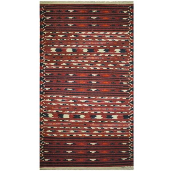 Handmade One-of-a-Kind Wool Kilim (Afghanistan) - 3'6 x 6'4