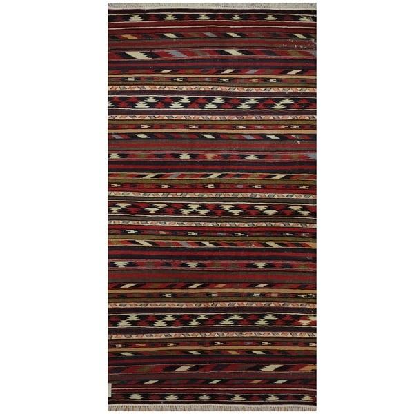 Handmade One-of-a-Kind Wool Kilim (Afghanistan) - 3'5 x 6'8