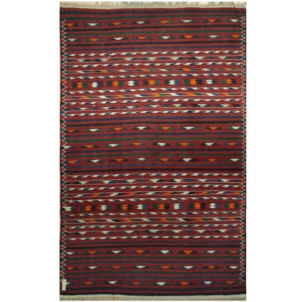 Handmade One-of-a-Kind Wool Kilim (Afghanistan) - 4' x 6'5