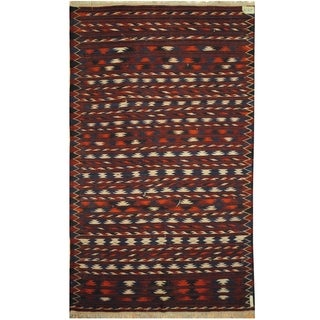 Handmade One-of-a-Kind Wool Kilim (Afghanistan) - 3'8 x 6'2