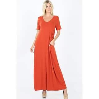 JED Women's Short Sleeve V-Neck Maxi Dress with Pockets