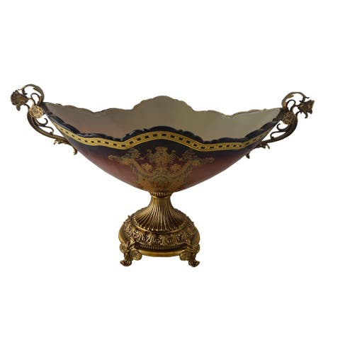 Glass Bowl Red Centerpiece Table Decor, Handles & Base Made from Solid Brass