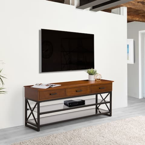 CorLiving Houston Wood Finish TV Bench with Glass Shelves for TVs up to 70 Inches