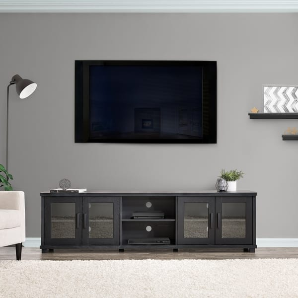 Shop CorLiving Ravenwood Black TV Stand with Glass Cabinets ...