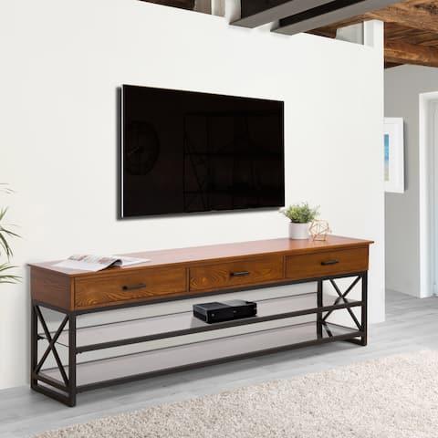 CorLiving Houston Wood Veneer TV Bench with Glass Shelves
