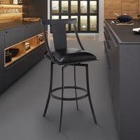 """Armen Living Brisbane Contemporary 26"""" Counter Height Barstool in Matte Black Finish and Black Faux Leather"""
