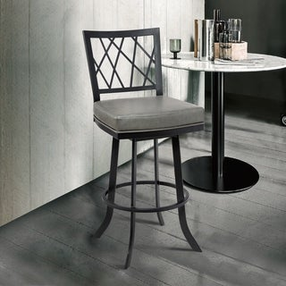 "Armen Living Giselle Contemporary 26"" Counter Height Barstool in Matte Black Finish and Vintage Grey Faux Leather"