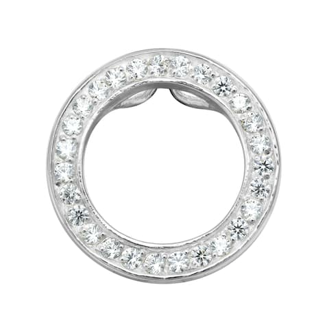 Handmade Elegantly Simple Sterling Silver Circle & Cubic Zirconia Slide Pendant (Thailand)