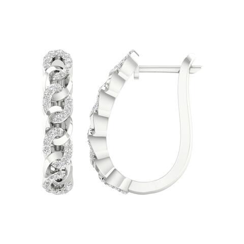 1/3ct TDW Diamond Cuban Link Hoop Earrings in 10k Gold by De Couer