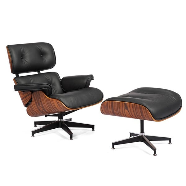 Mid Century Lounge Chair with Ottoman for Living Room, Wood Natural Leather