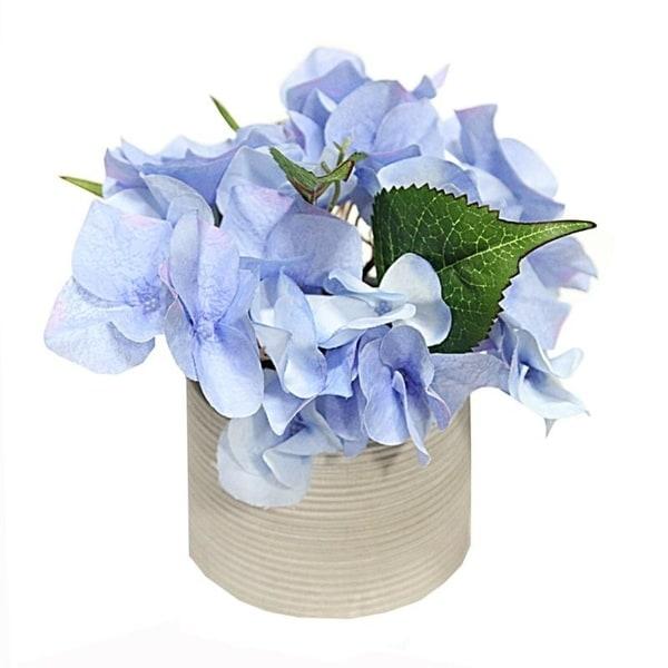 "7"" Faux Hydrangea Tabletop Floral Arrangement in Pot"