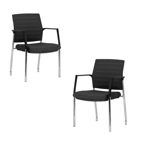 Mesh Upholstered Stacking Office Chair Guest/Reception Chair with Armrests, 2 Sets