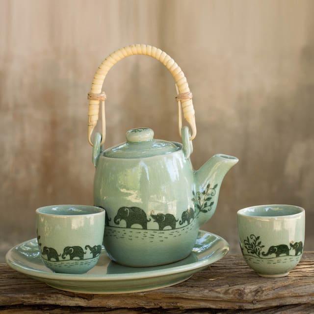 Celadon ceramic tea set Elephant Parade
