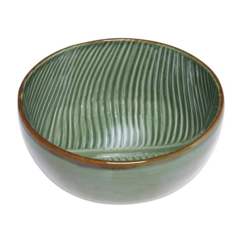 "Handmade 9"" Banana Vibes Ceramic Serving Bowl (Indonesia)"