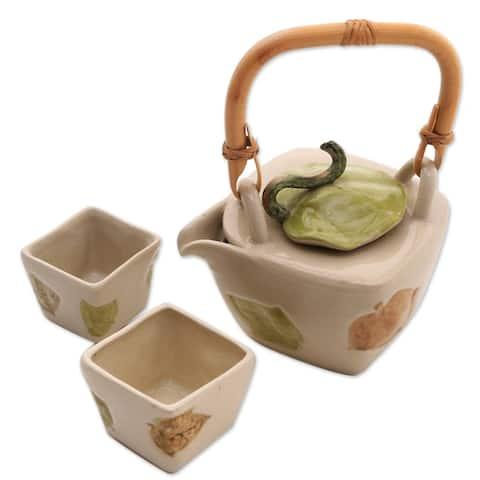 Handmade Hibiscus Leaves Stoneware tea set (set for 2)