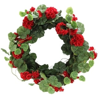 "22"" Artificial Red Geranium Spring Summer Fall Wreath Home Decor"