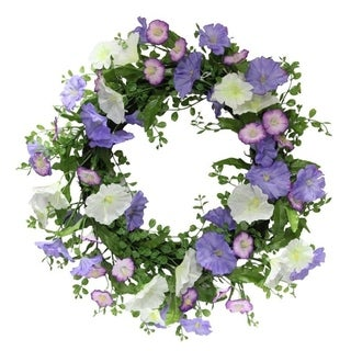 "22"" Artificial Morning Glory Spring Summer Wreath Home Décor"