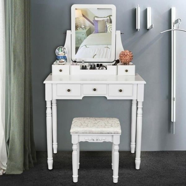 Shop Modern Bedroom Dresser Makeup Vanity Table and Stool ...