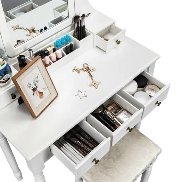 Shop Modern Bedroom Dresser Makeup Vanity Table and Stool ...