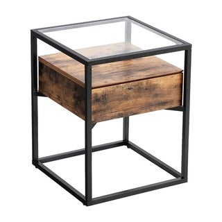 Iron Side Table with Tempered Glass Top and Wooden Drawer, Brown and Black
