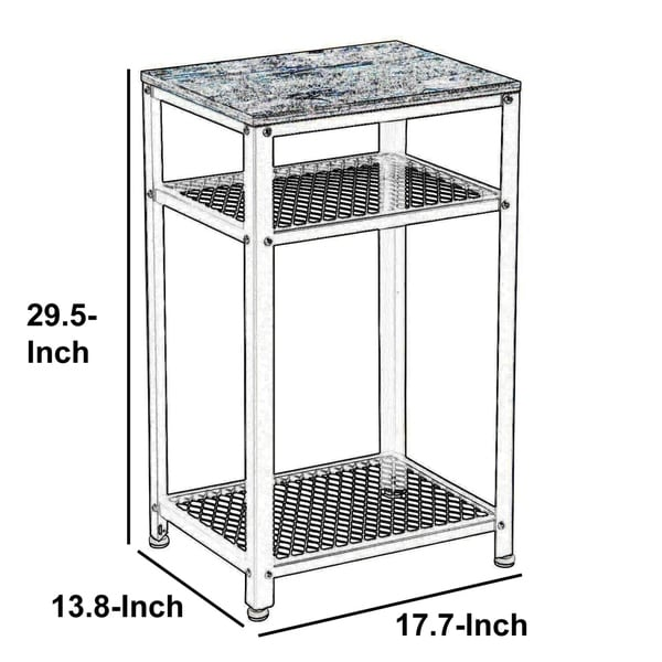 Side Table End Console Table 2 Tier Mesh Shelves Industrial Wood and Metal