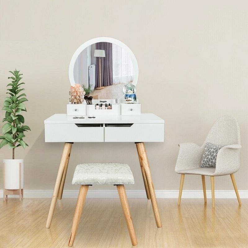 Cutey Bedroom Dressing Table Makeup Vanity Table with Stool Set Computer  Desk