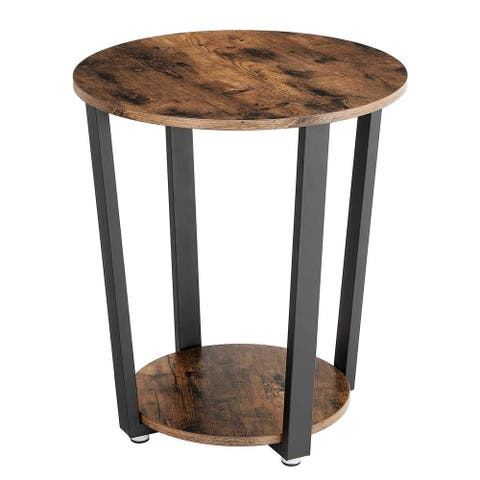 Iron and Wood End Table with Open Bottom Shelf, Brown and Black