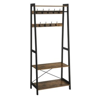 Iron Framed Coat Rack with Two Storage Shelves and Hanging Rail, Brown and Black