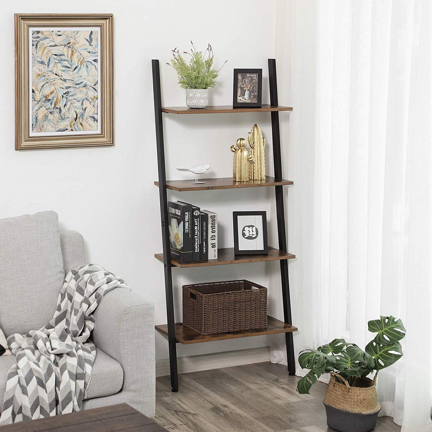 Rustic Ladder Style Iron Bookcase With Four Wooden Shelves Brown And Black On Sale Overstock 28177801