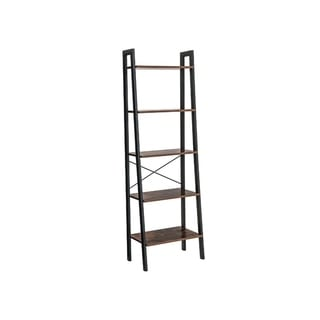 Five Tiered Rustic Wooden Ladder Shelf with Iron Framework, Brown and Black