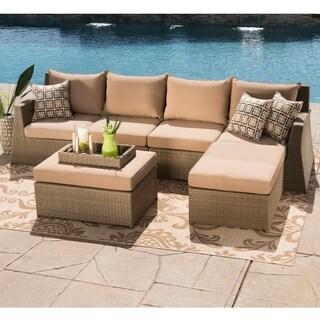Corvus Hampton 6-piece Sunbrella Patio Brown Wicker Deep Seating Sectional Sofa Set